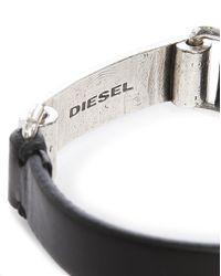 DIESEL | Ashark Black Leather And Silver Bracelet for Men | Lyst