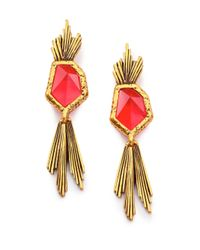 Oscar de la Renta | Red Wildflower Drop Earrings | Lyst
