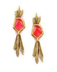 Oscar de la Renta - Red Wildflower Drop Earrings - Lyst