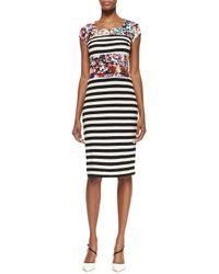 Nicole Miller Artelier | Multicolor Cap-sleeve Flower  Stripe Print Dress | Lyst