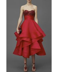 Marchesa Red Strapless Satin-faced Organza Tea Length Gown