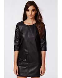 Missguided Bree Faux Leather Shift Dress Black