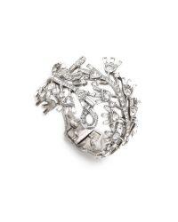 Oscar de la Renta | Metallic Floral Baguette Bracelet - Crystal/silver | Lyst
