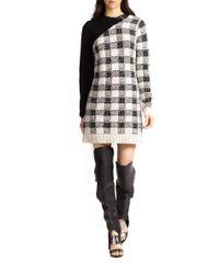 3.1 Phillip Lim - Black Wool Cashmereblend Colorblock Plaid Sweater Dress - Lyst