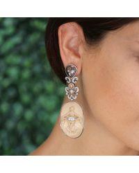 Bochic Metallic Carved Mammoth Cameo Earrings