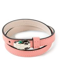 BVLGARI - Pink Snakes Head Wrap Bracelet - Lyst