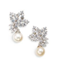CZ by Kenneth Jay Lane | 10mm White Freshwater Pearl & Foliate Cluster Drop Earrings | Lyst