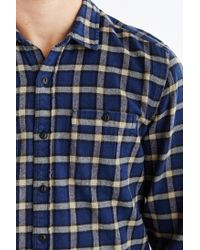 Stapleford Blue Chico Plaid Flannel Button-down Shirt for men