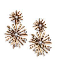 Oscar de la Renta | Metallic Starburst Faux Pearl Clip-On Drop Earrings | Lyst