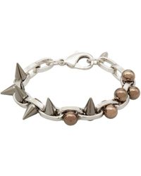 Joomi Lim - Metallic Small Silver Double Row Spheres And Spikes Bracelet - Lyst