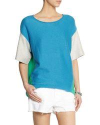 Duffy - Blue Color-Block Cotton-Blend Terry Top - Lyst