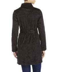 Re:named - Black Faux Suede Trench Coat - Lyst