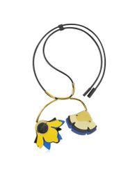 Marni Multicolor Maize Double Flower Leather Pendant Necklace