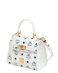 MCM White Heritage Printed Leather Shoulder Bag