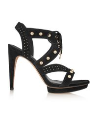 Rebecca Minkoff Black Ilima Studded Suede Sandals
