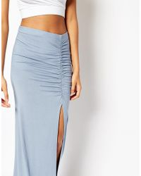 ASOS | Blue Maxi Skirt With Ruched Side And Side Split | Lyst