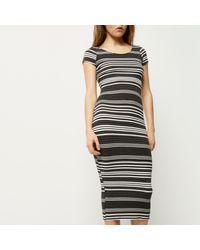 River Island - Black Stripe Maxi Bodycon Dress - Lyst