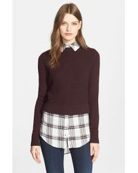 Veronica Beard Purple 'mohawk' Layered Look Sweater