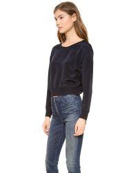 Theyskens' Theory Blue Felect Bason Cropped Silk Sweatshirt