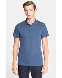 Sunspel - Blue 'riviera' Cotton Pique Polo for Men - Lyst