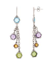 Lord & Taylor | Multicolor Sterling Silver Peridot Amethyst Swiss Blue Topaz And Citrine Drop Earrings | Lyst