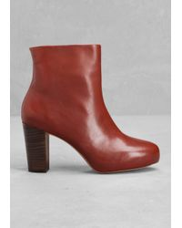 & Other Stories | Red Leather Ankle Boots | Lyst