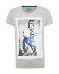 Wrangler | Gray Print Crew Neck Regular Fit T-shirt for Men | Lyst
