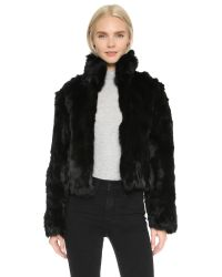 Adrienne Landau | Rabbit Fur Jacket - Black | Lyst