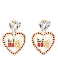 Maria Francesca Pepe Metallic New York Swarovski Crystal And Plexi Drop Earrings