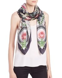 Givenchy | Black Paradise Flowers Cotton & Silk Scarf | Lyst