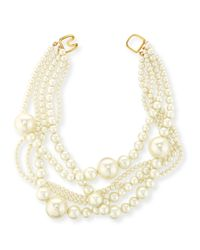 Kenneth Jay Lane | Metallic Multi-strand Pearly Bead Necklace | Lyst