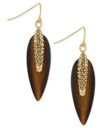 Vince Camuto - Gold-tone Brown Resin Pavé Spike Drop Earrings - Lyst