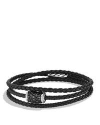 David Yurman - Chevron Triple Wrap Bracelet with Black Diamonds - Lyst