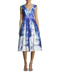 Black Halo - Blue Cap-sleeve Paintbrush-print Cocktail Dress - Lyst