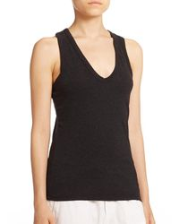 James Perse | Black Skinny Brushed Jersey Racerback Tank Top | Lyst
