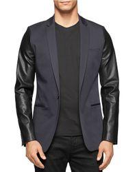 Calvin Klein | Gray Mixed Media Blazer for Men | Lyst