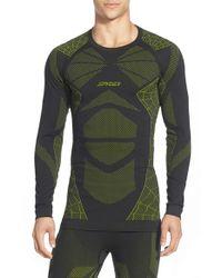 Spyder Green 'captain' Compression Base Layer Top for men