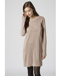 TOPSHOP Natural Lurex Knitted Tunic Dress