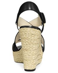 Michael Kors - Black Michael Giovanna Platform Wedge Sandals - Lyst