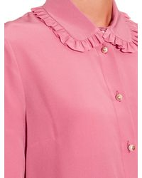 Gucci Pink Ruffle-trimmed Silk-crepe Blouse