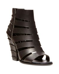 Steven by Steve Madden | Black Casted Leather Sandal Booties | Lyst