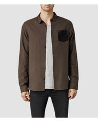 AllSaints - Brown Lezan Shirt for Men - Lyst