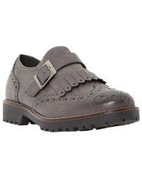 Dune Black Gray Felton Leather Brogues for men