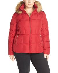 Calvin Klein | Red Faux Fur-Trimmed Quilted Jacket  | Lyst