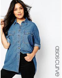 ASOS - Denim Boyfriend Shirt In Blue - Lyst