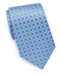 Saks Fifth Avenue - Blue Grid Silk Tie for Men - Lyst