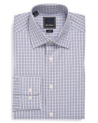 David Donahue - Gray Trim Fit Check Dress Shirt for Men - Lyst