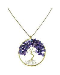 Aeravida | Purple Amethyst Stone Eternal Tree Of Life Brass Long Necklace | Lyst