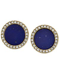 Michael Kors | Metallic Gold-Tone Lapis Blue Circular Stud Earrings | Lyst