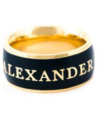 Alexander McQueen - Blue Enamel Logo Ring - Lyst